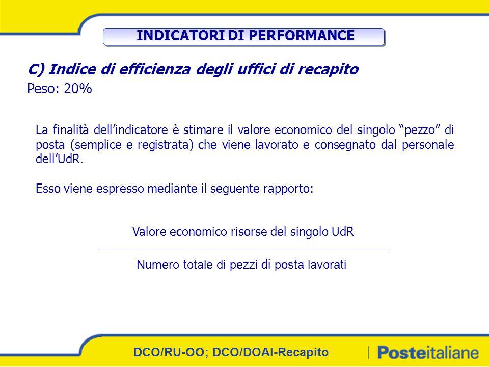9 IL FUNZIONAMENTO Ai 3 indicatori è associato un peso diverso in base allimportanza strategica che essi avranno nellambito del sistema di recapito.