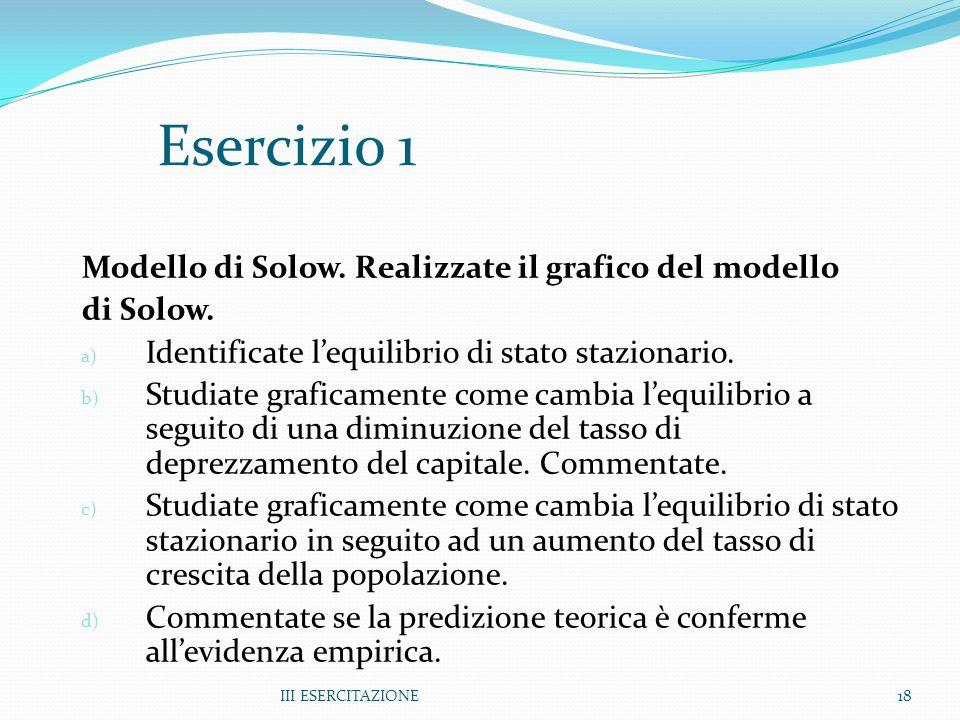 III ESERCITAZIONE18 Esercizio 1 Modello di Solow. Realizzate il grafico del modello di Solow. a) Identificate lequilibrio di stato stazionario. b) Stu