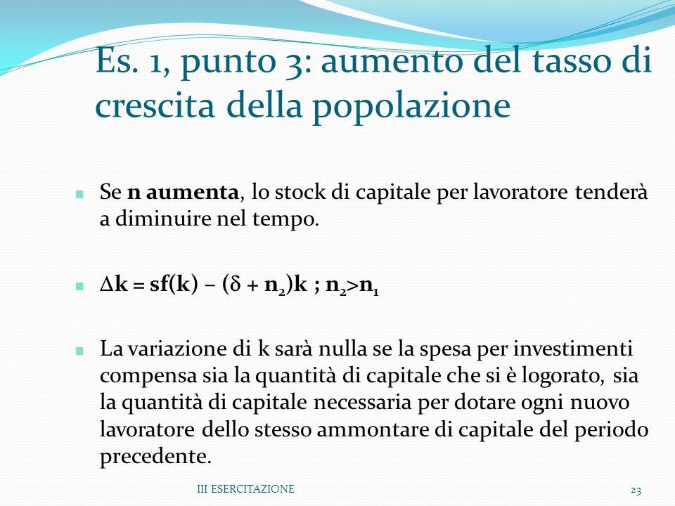 III ESERCITAZIONE23 Es. 1, punto 3: aumento del tasso di crescita della popolazione Se n aumenta, lo stock di capitale per lavoratore tenderà a diminu