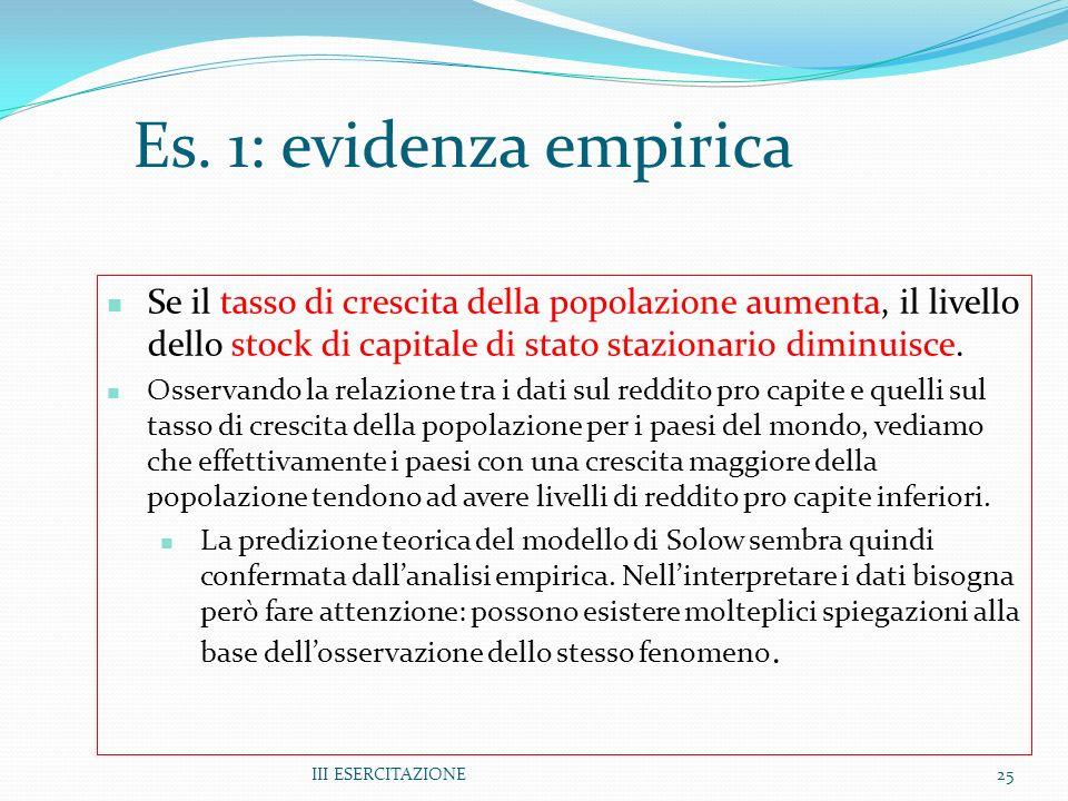 III ESERCITAZIONE25 Es. 1: evidenza empirica Se il tasso di crescita della popolazione aumenta, il livello dello stock di capitale di stato stazionari