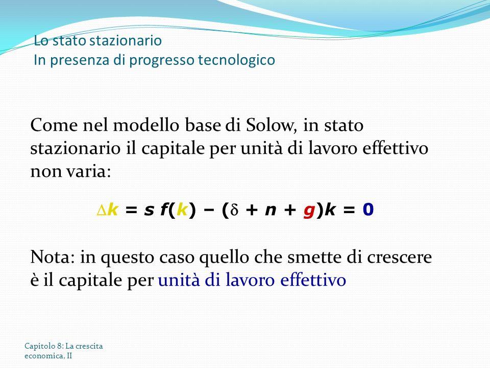 Capitolo 8: La crescita economica, II Lo stato stazionario In presenza di progresso tecnologico Come nel modello base di Solow, in stato stazionario i
