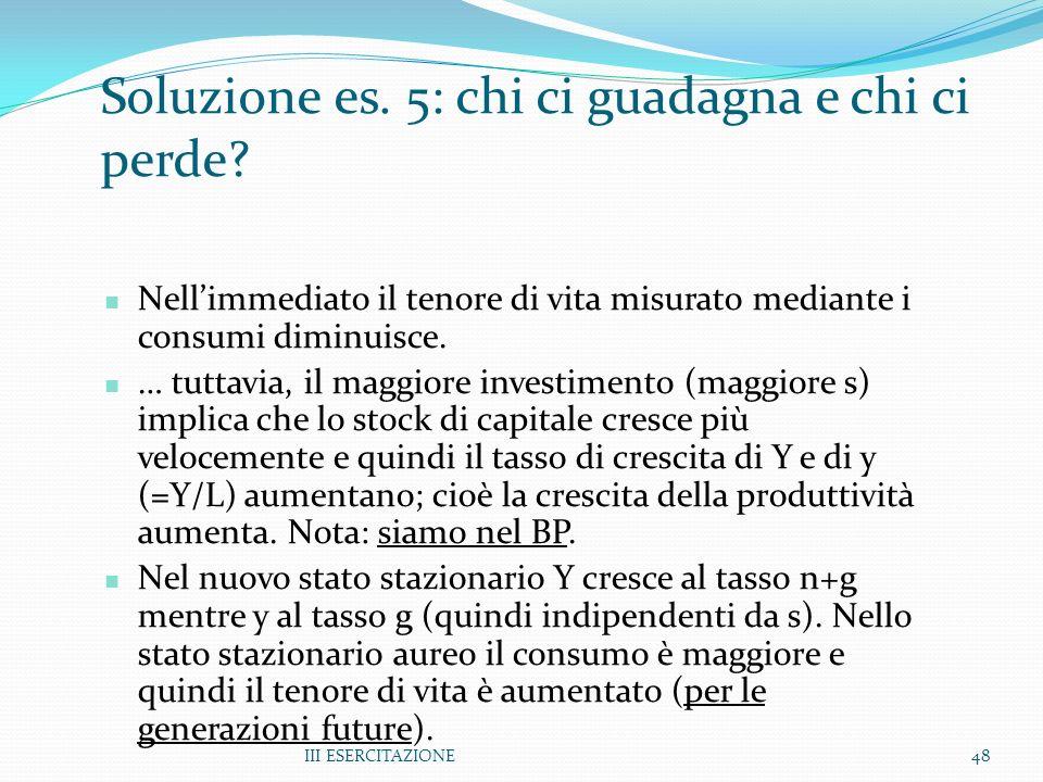 III ESERCITAZIONE48 Soluzione es. 5: chi ci guadagna e chi ci perde? Nellimmediato il tenore di vita misurato mediante i consumi diminuisce. … tuttavi
