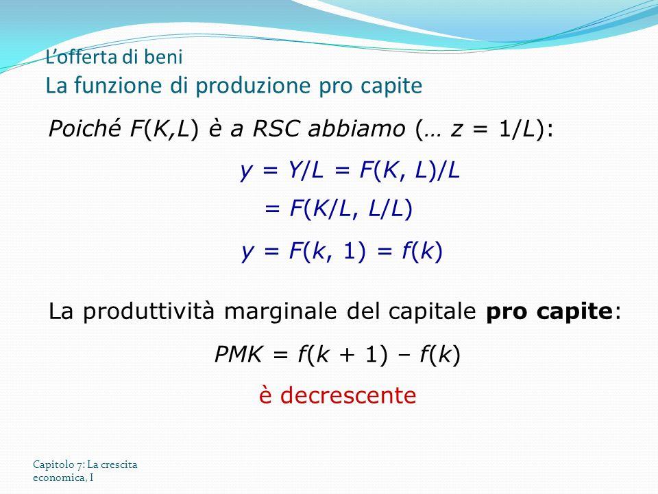 Capitolo 7: La crescita economica, I Poiché F(K,L) è a RSC abbiamo (… z = 1/L): y = Y/L = F(K, L)/L = F(K/L, L/L) y = F(k, 1) = f(k) La produttività m