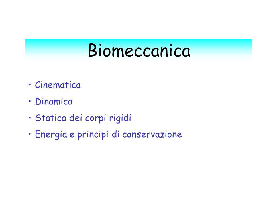 Biomeccanica Cinematica Dinamica Statica dei corpi rigidi Energia e principi di conservazione