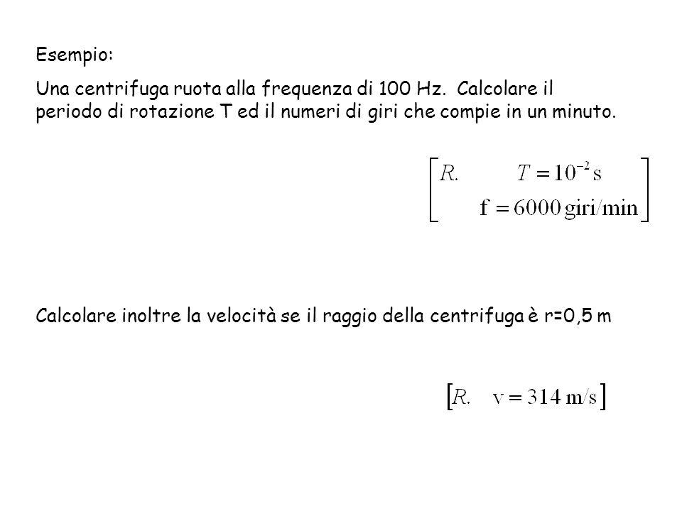 Esempio: Una centrifuga ruota alla frequenza di 100 Hz. Calcolare il periodo di rotazione T ed il numeri di giri che compie in un minuto. Calcolare in