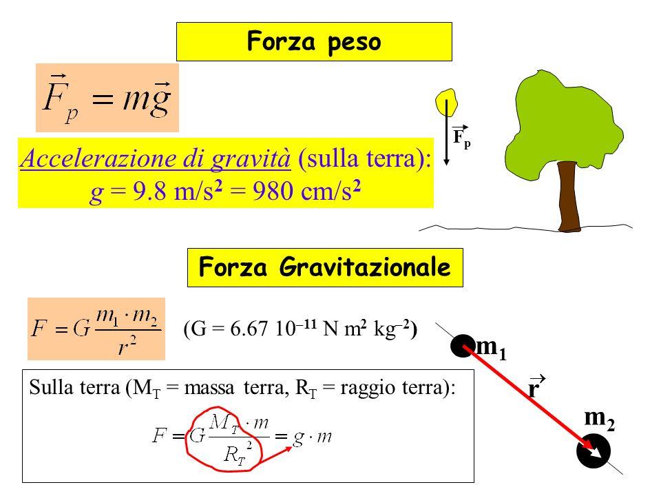 Sulla terra (M T = massa terra, R T = raggio terra): Forza peso Accelerazione di gravità (sulla terra): g = 9.8 m/s 2 = 980 cm/s 2 FpFp Forza Gravitaz