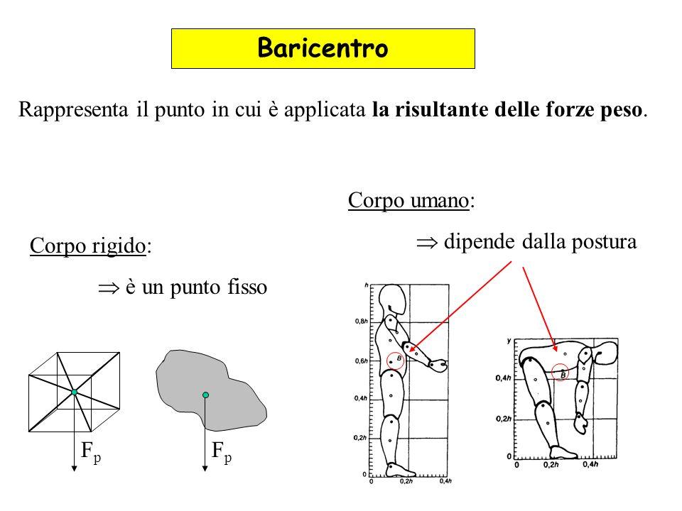 Baricentro Rappresenta il punto in cui è applicata la risultante delle forze peso. FpFp FpFp Corpo rigido: è un punto fisso Corpo umano: dipende dalla