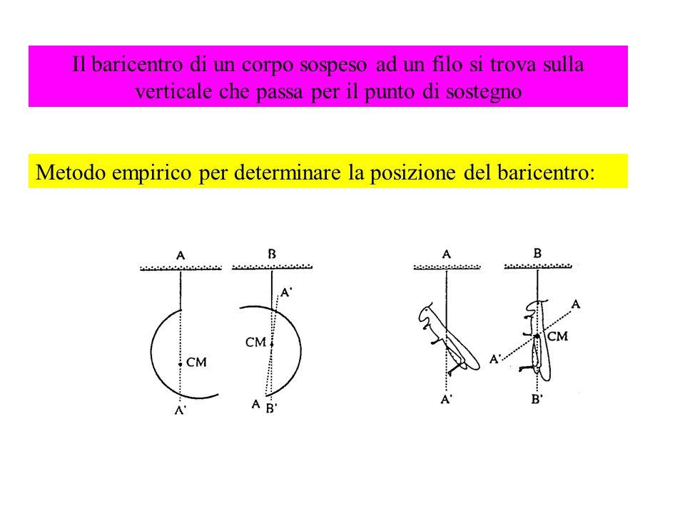 Il baricentro di un corpo sospeso ad un filo si trova sulla verticale che passa per il punto di sostegno Metodo empirico per determinare la posizione