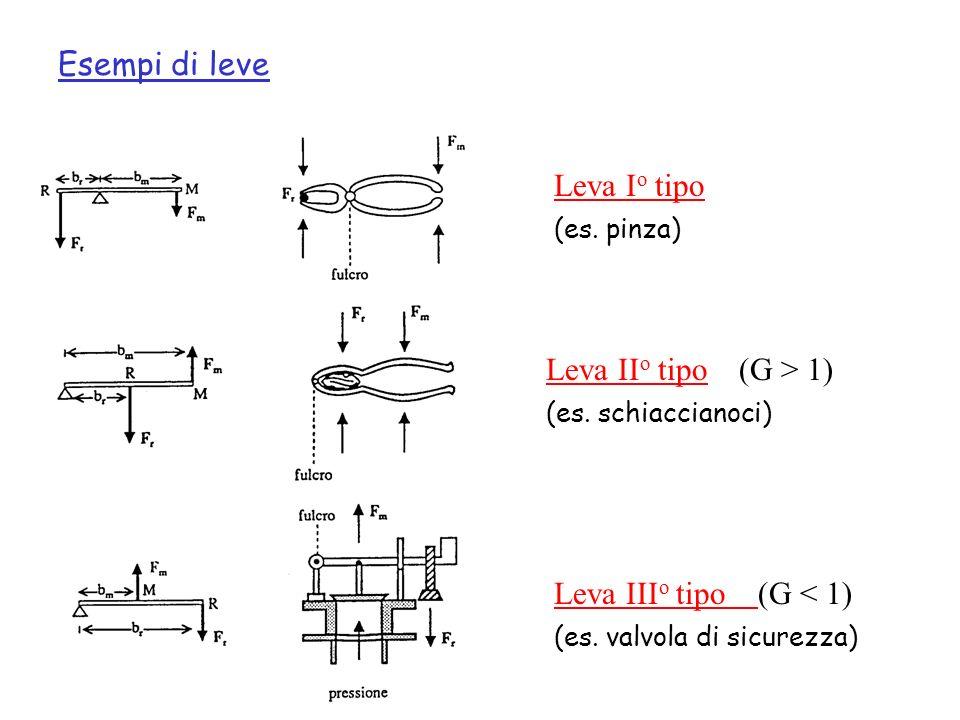 Leva I o tipo Leva II o tipo (G > 1) Leva III o tipo (G < 1) Esempi di leve (es. pinza) (es. schiaccianoci) (es. valvola di sicurezza)