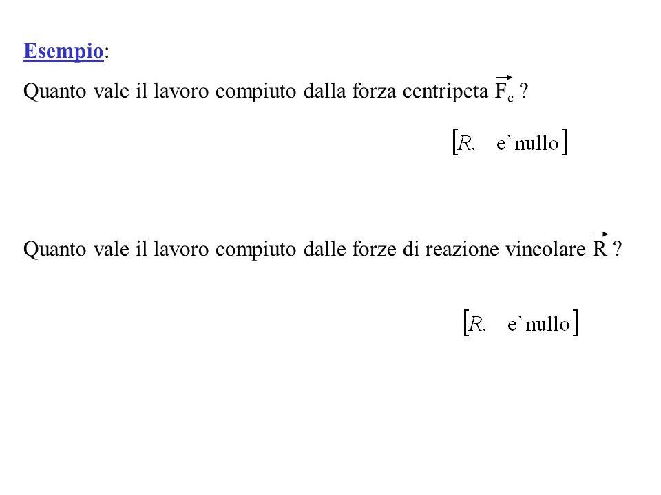 Esempio: Quanto vale il lavoro compiuto dalla forza centripeta F c ? Quanto vale il lavoro compiuto dalle forze di reazione vincolare R ?