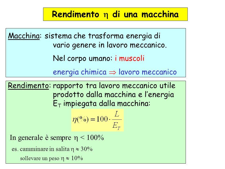 Rendimento di una macchina Macchina: sistema che trasforma energia di vario genere in lavoro meccanico. Nel corpo umano: i muscoli energia chimica lav