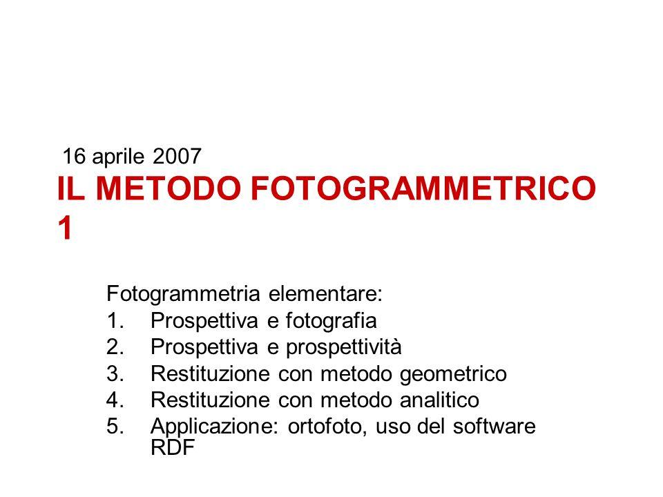 IL METODO FOTOGRAMMETRICO 1 Fotogrammetria elementare: 1.Prospettiva e fotografia 2.Prospettiva e prospettività 3.Restituzione con metodo geometrico 4