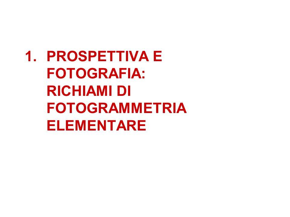 1.PROSPETTIVA E FOTOGRAFIA: RICHIAMI DI FOTOGRAMMETRIA ELEMENTARE