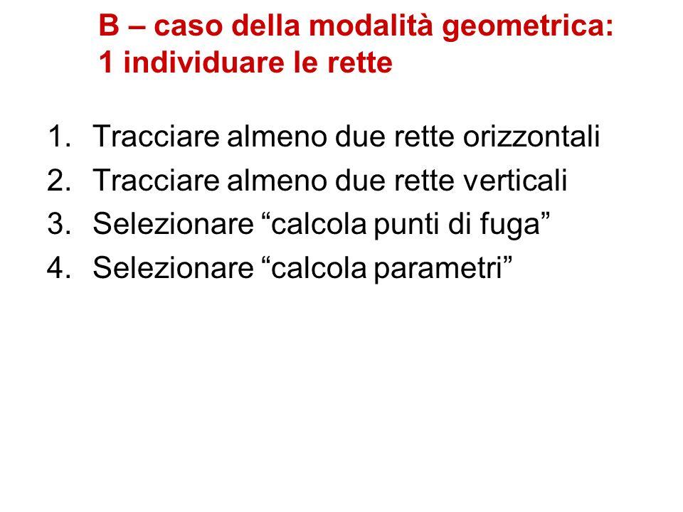B – caso della modalità geometrica: 1 individuare le rette 1.Tracciare almeno due rette orizzontali 2.Tracciare almeno due rette verticali 3.Seleziona