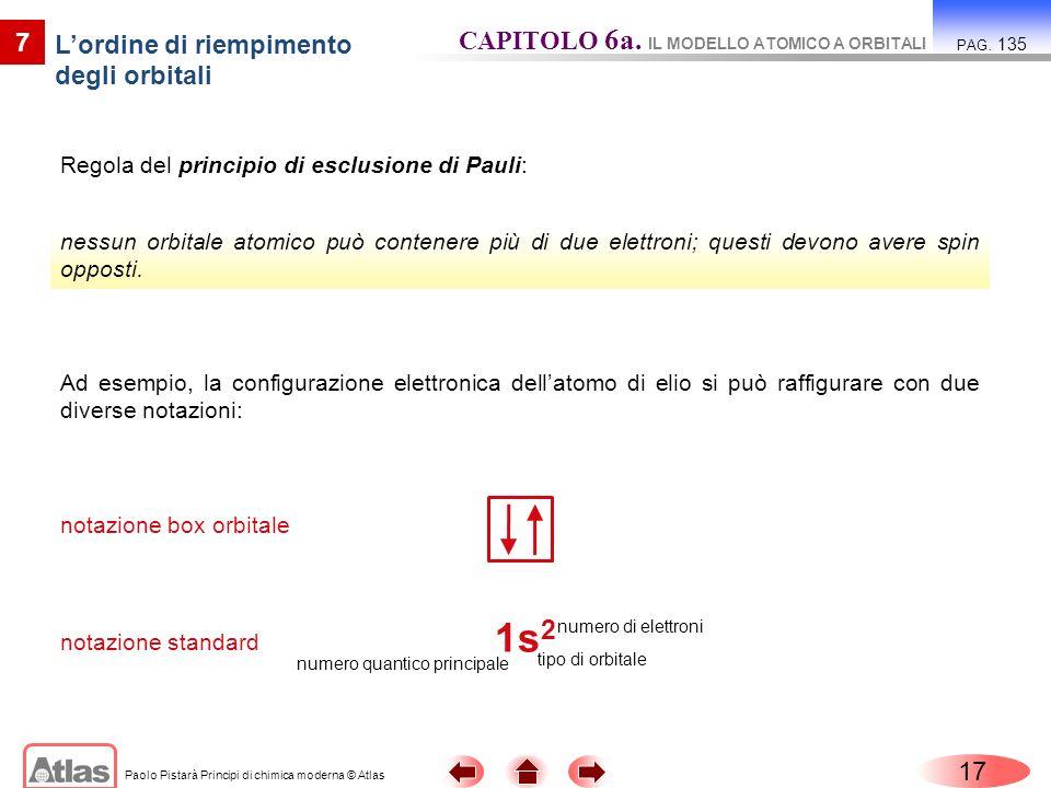 Paolo Pistarà Principi di chimica moderna © Atlas Regola del principio di esclusione di Pauli: 17 7 Lordine di riempimento degli orbitali CAPITOLO 6a.