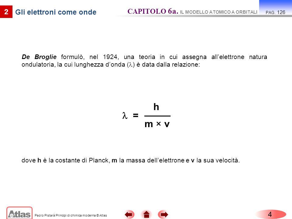 Paolo Pistarà Principi di chimica moderna © Atlas De Broglie formulò, nel 1924, una teoria in cui assegna allelettrone natura ondulatoria, la cui lung