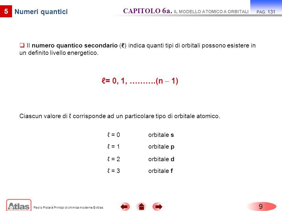 Paolo Pistarà Principi di chimica moderna © Atlas 10 5 Numeri quantici CAPITOLO 6a.