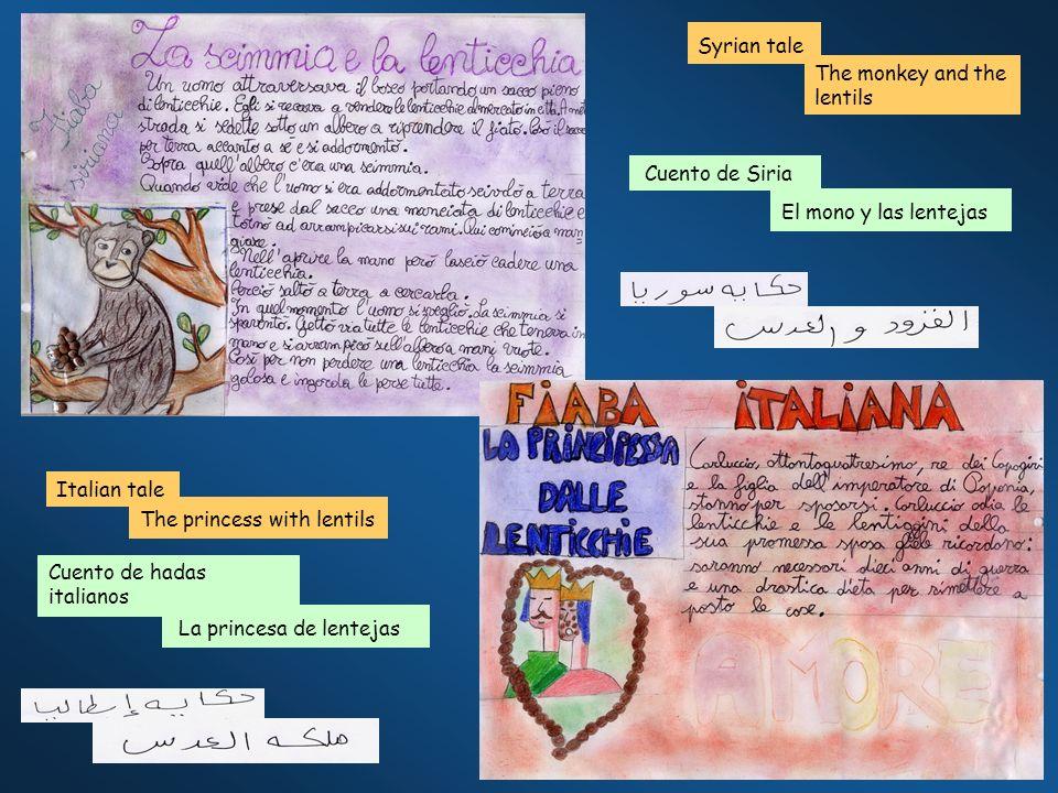 Syrian tale The monkey and the lentils Italian tale The princess with lentils Cuento de Siria El mono y las lentejas Cuento de hadas italianos La princesa de lentejas