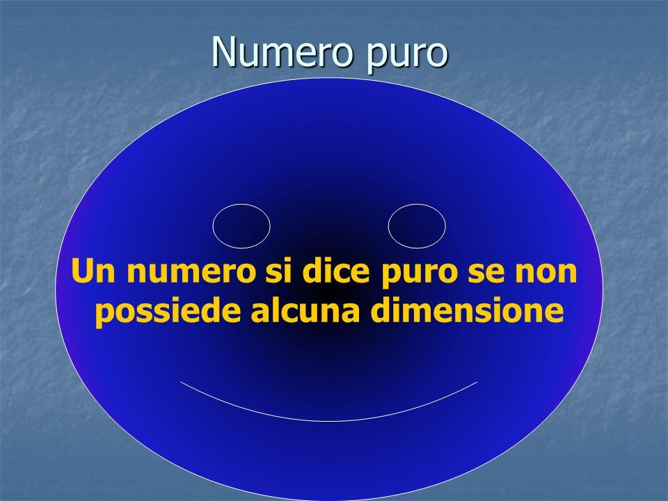Numero puro Un numero si dice puro se non possiede alcuna dimensione