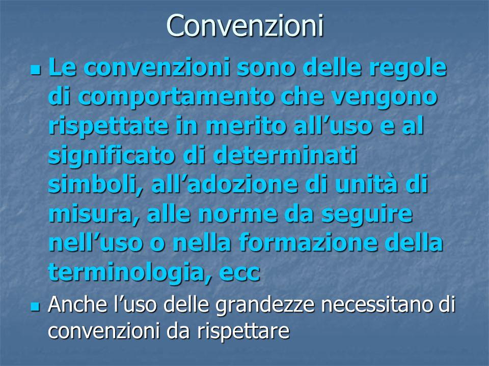 Convenzioni Le convenzioni sono delle regole di comportamento che vengono rispettate in merito alluso e al significato di determinati simboli, alladoz