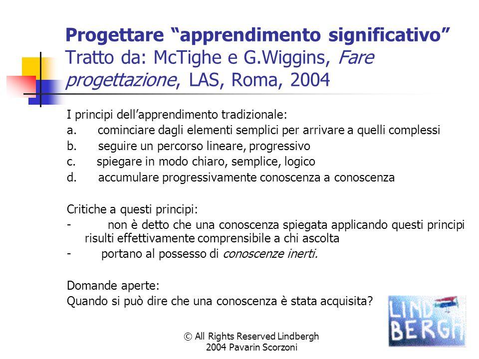 © All Rights Reserved Lindbergh 2004 Pavarin Scorzoni Progettare apprendimento significativo Tratto da: McTighe e G.Wiggins, Fare progettazione, LAS, Roma, 2004 I principi dellapprendimento tradizionale: a.