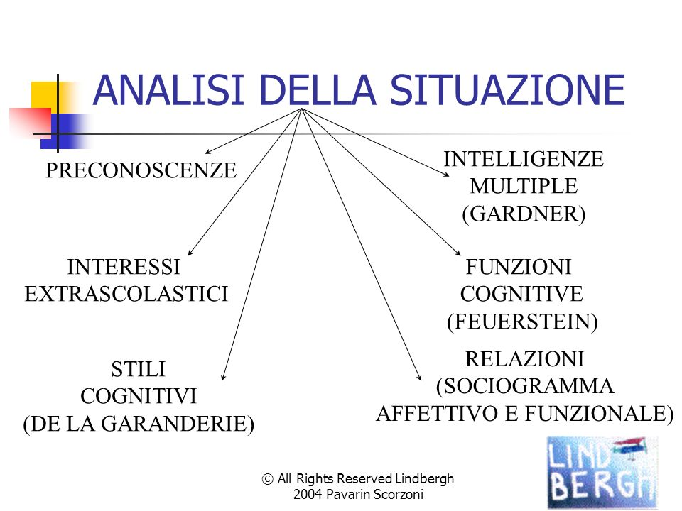 © All Rights Reserved Lindbergh 2004 Pavarin Scorzoni ANALISI DELLA SITUAZIONE PRECONOSCENZE INTELLIGENZE MULTIPLE (GARDNER) STILI COGNITIVI (DE LA GA