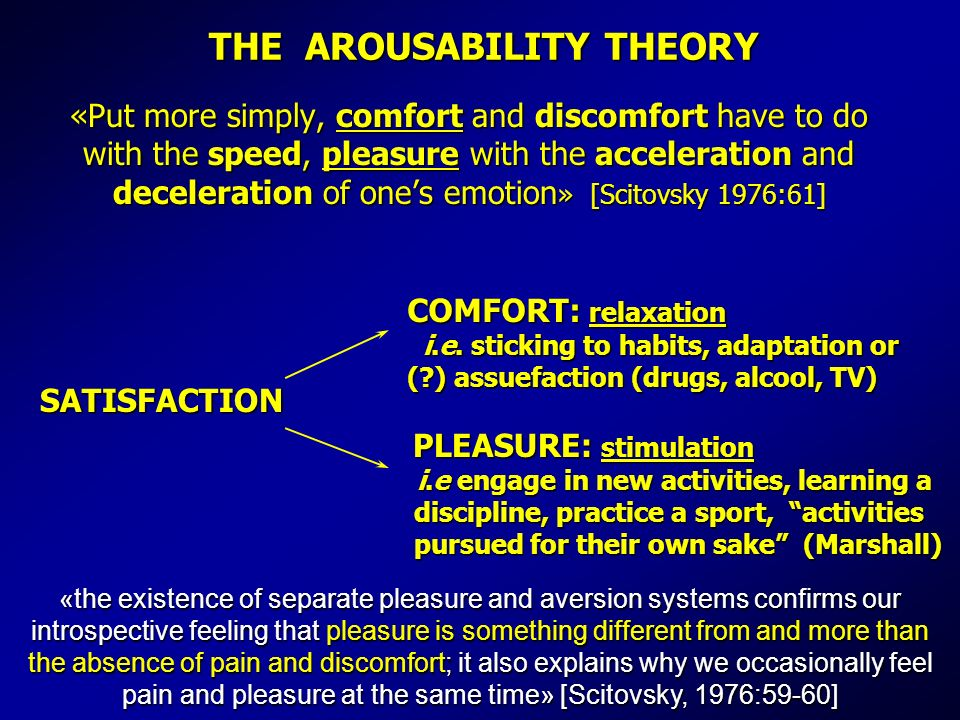 THE AROUSABILITY THEORY «Put more simply, comfort and discomfort have to do with the speed, pleasure with the acceleration and deceleration of ones emotion » [Scitovsky 1976:61] SATISFACTION COMFORT: relaxation i.e.
