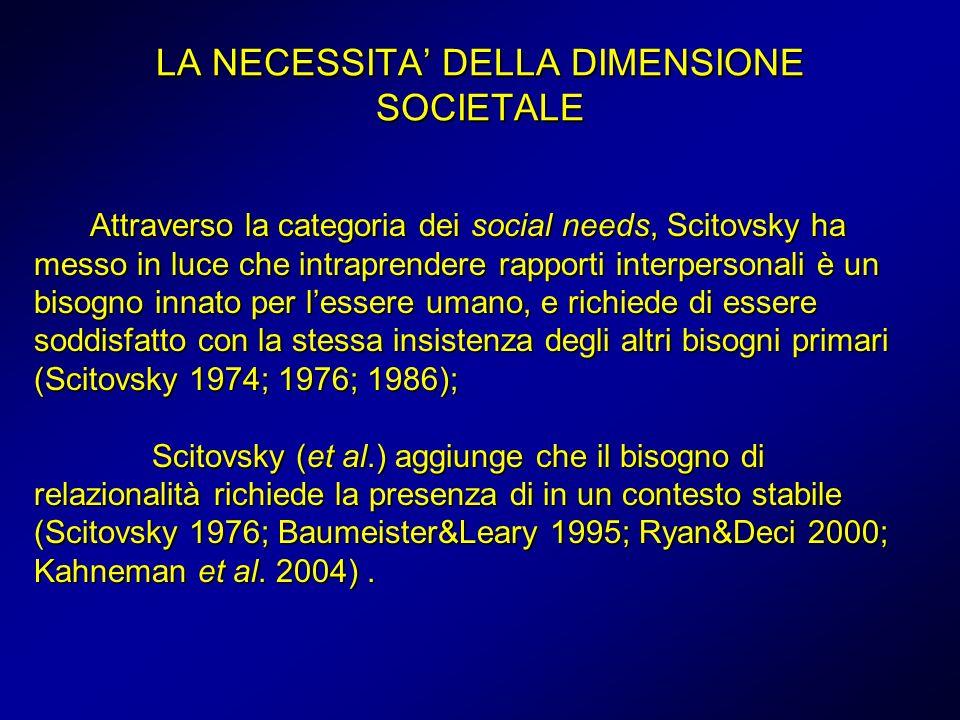LA NECESSITA DELLA DIMENSIONE SOCIETALE Attraverso la categoria dei social needs, Scitovsky ha messo in luce che intraprendere rapporti interpersonali è un bisogno innato per lessere umano, e richiede di essere soddisfatto con la stessa insistenza degli altri bisogni primari (Scitovsky 1974; 1976; 1986); Scitovsky (et al.) aggiunge che il bisogno di relazionalità richiede la presenza di in un contesto stabile (Scitovsky 1976; Baumeister&Leary 1995; Ryan&Deci 2000; Kahneman et al.