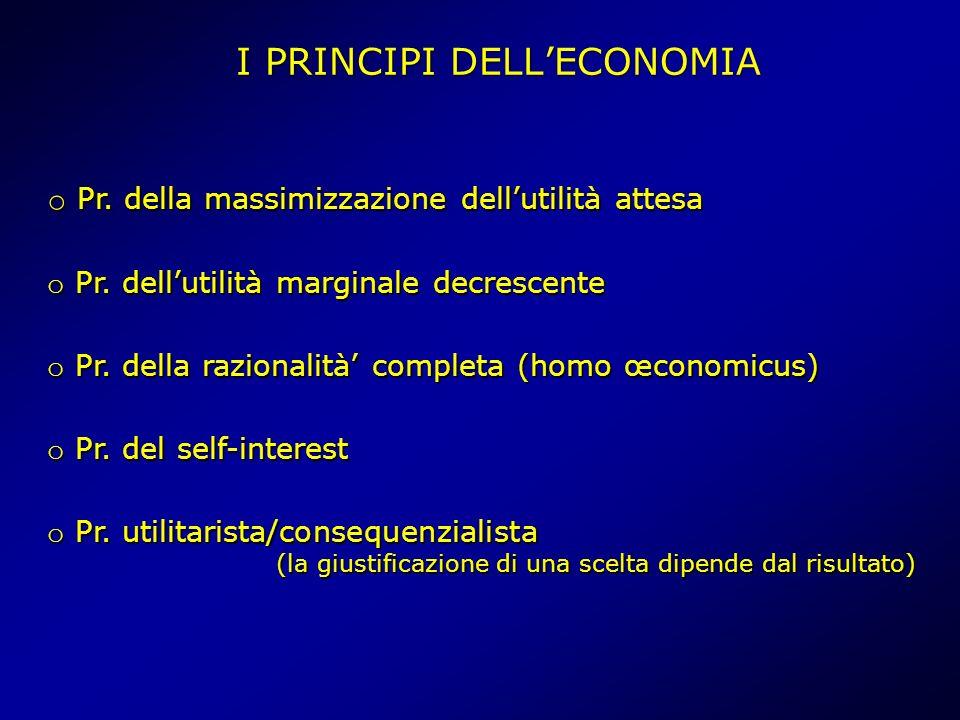 I PRINCIPI DELLECONOMIA o Pr. della massimizzazione dellutilità attesa o Pr.