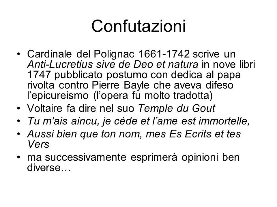 Confutazioni Cardinale del Polignac 1661-1742 scrive un Anti-Lucretius sive de Deo et natura in nove libri 1747 pubblicato postumo con dedica al papa