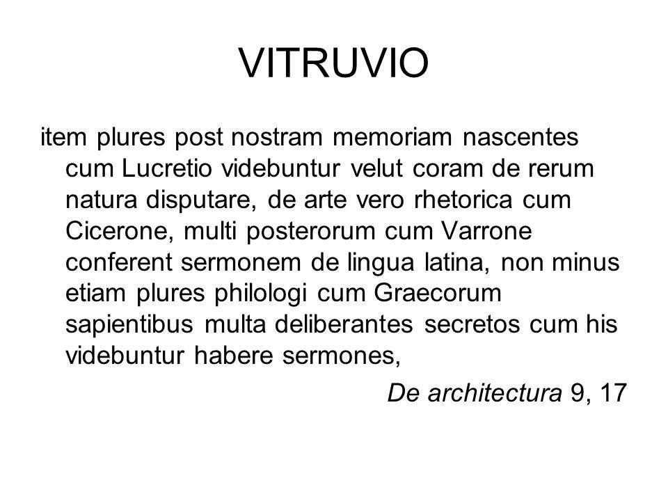 VITRUVIO item plures post nostram memoriam nascentes cum Lucretio videbuntur velut coram de rerum natura disputare, de arte vero rhetorica cum Ciceron