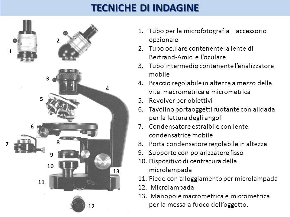 12 11 13 10 9 8 7 6 3 4 5 1 2 1.Tubo per la microfotografia – accessorio opzionale 2.Tubo oculare contenente la lente di Bertrand-Amici e loculare 3.T
