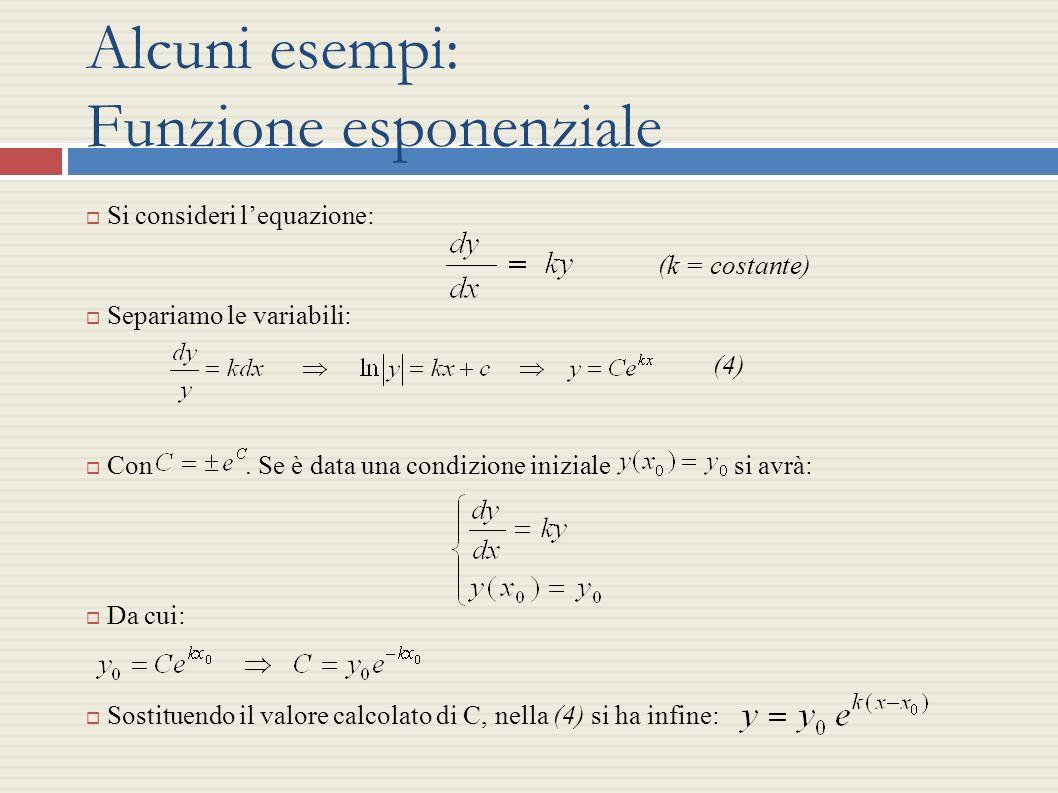Alcuni esempi: Funzione esponenziale Si consideri lequazione: (k = costante) Separiamo le variabili: (4) Con. Se è data una condizione iniziale si avr