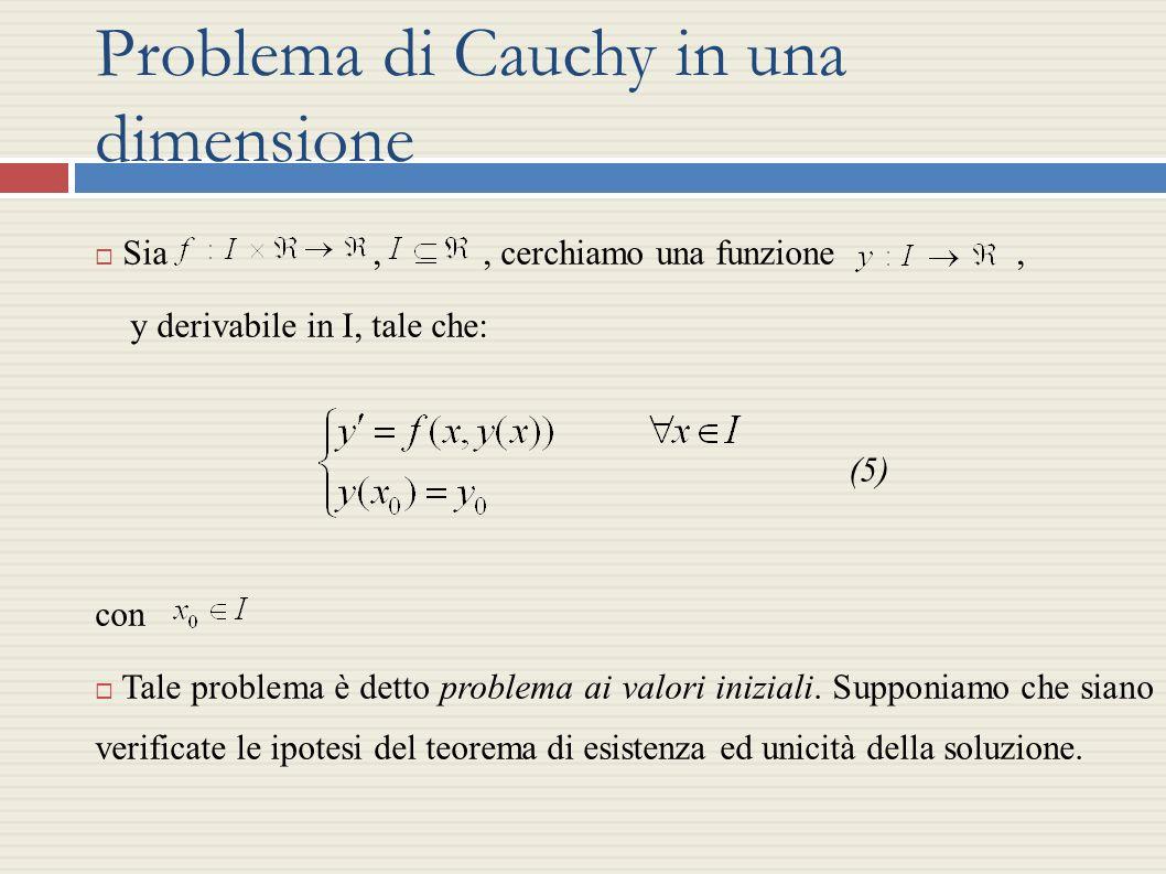 Problema di Cauchy in una dimensione Sia,, cerchiamo una funzione, y derivabile in I, tale che: (5) con Tale problema è detto problema ai valori inizi