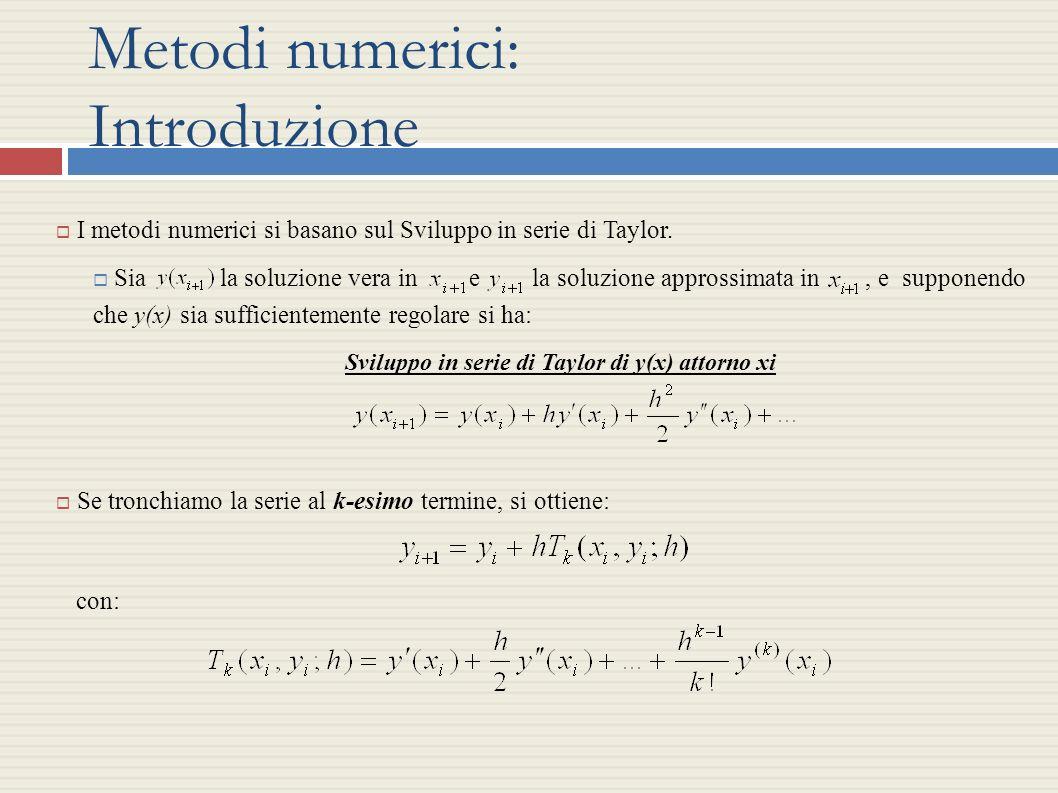 Metodi numerici: Introduzione I metodi numerici si basano sul Sviluppo in serie di Taylor. Sia la soluzione vera in e la soluzione approssimata in, e