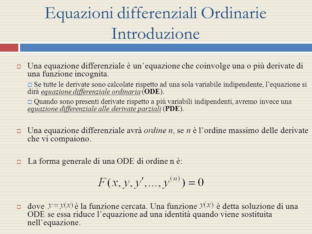 Equazioni differenziali Ordinarie Introduzione Una equazione differenziale è unequazione che coinvolge una o più derivate di una funzione incognita. S