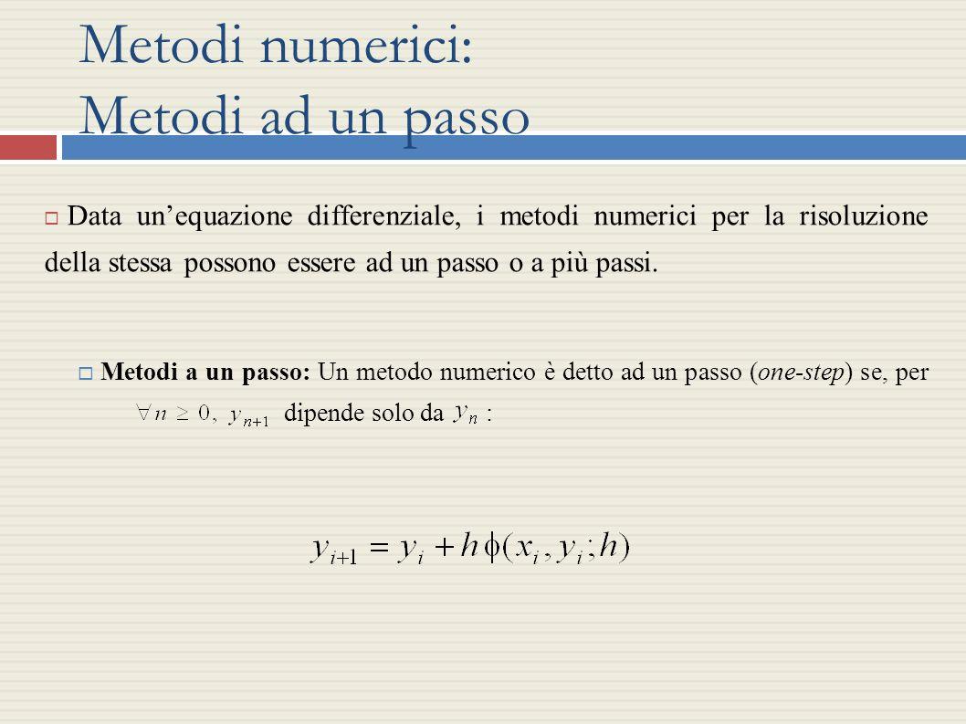 Metodi numerici: Metodi ad un passo Data unequazione differenziale, i metodi numerici per la risoluzione della stessa possono essere ad un passo o a p