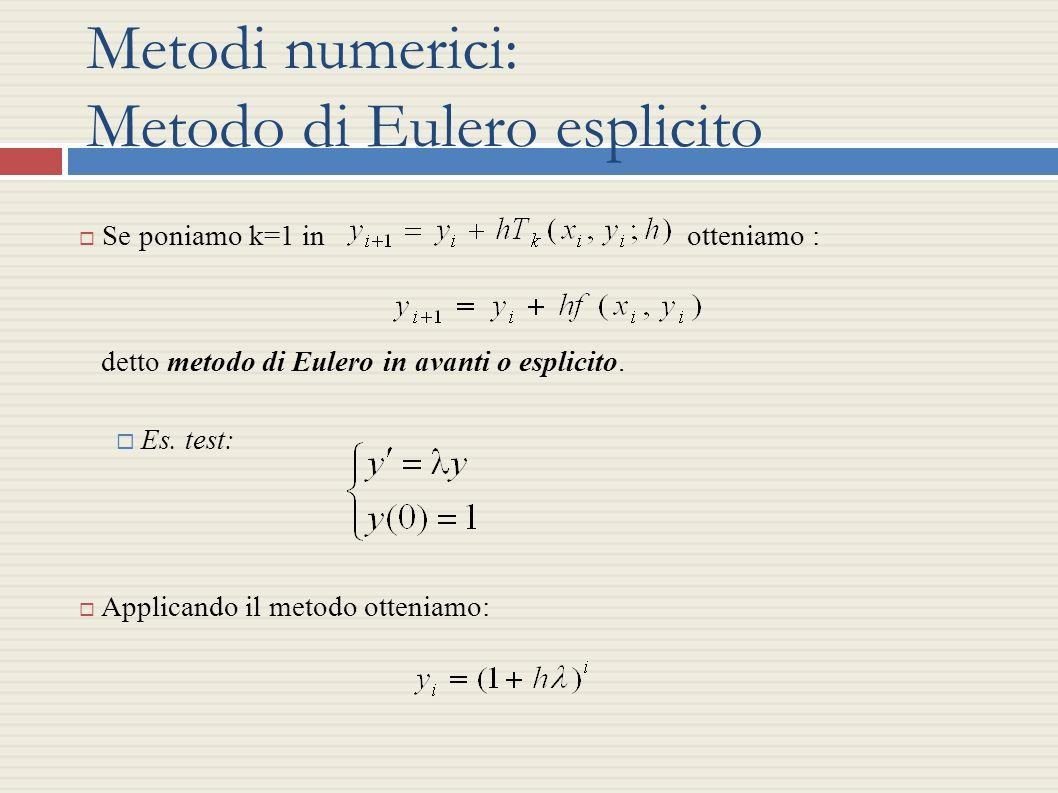 Metodi numerici: Metodo di Eulero esplicito Se poniamo k=1 in otteniamo : detto metodo di Eulero in avanti o esplicito. Es. test: Applicando il metodo