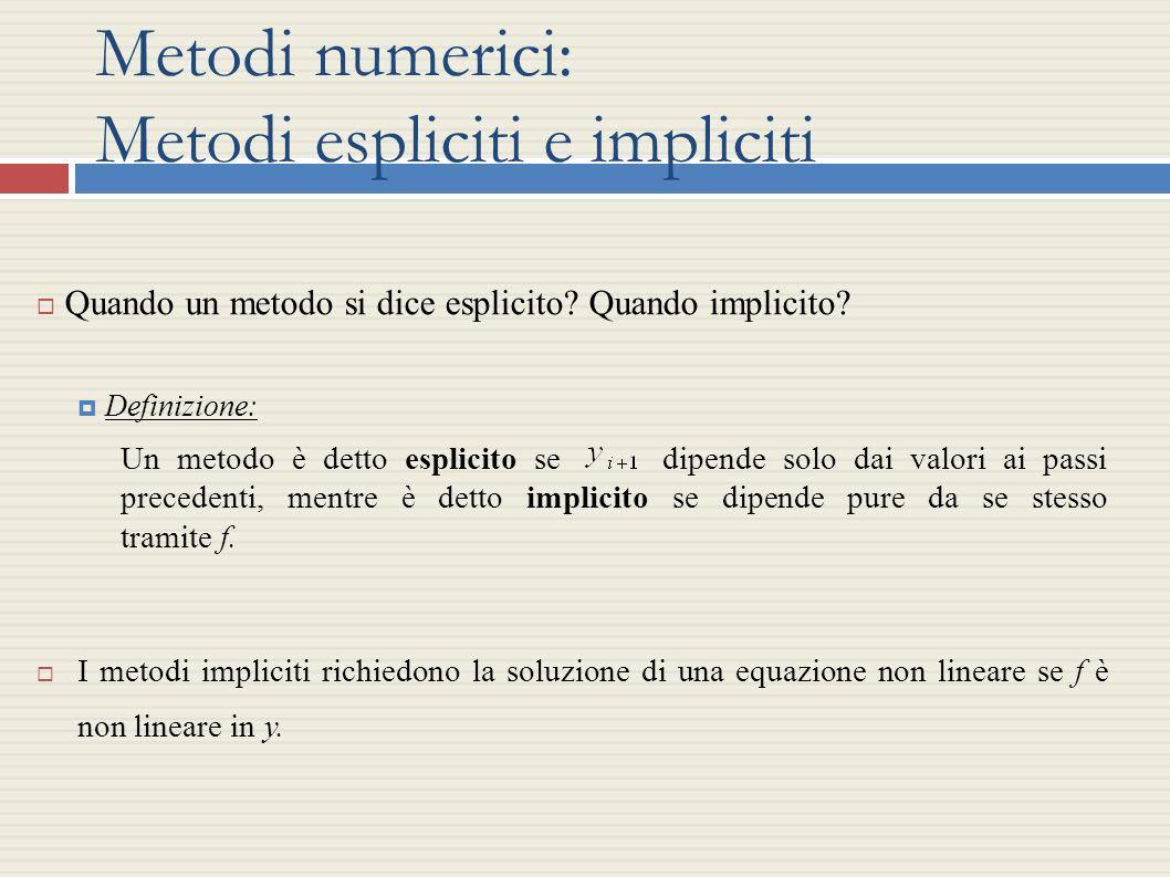 Metodi numerici: Metodi espliciti e impliciti Quando un metodo si dice esplicito? Quando implicito? Definizione: Un metodo è detto esplicito se dipend