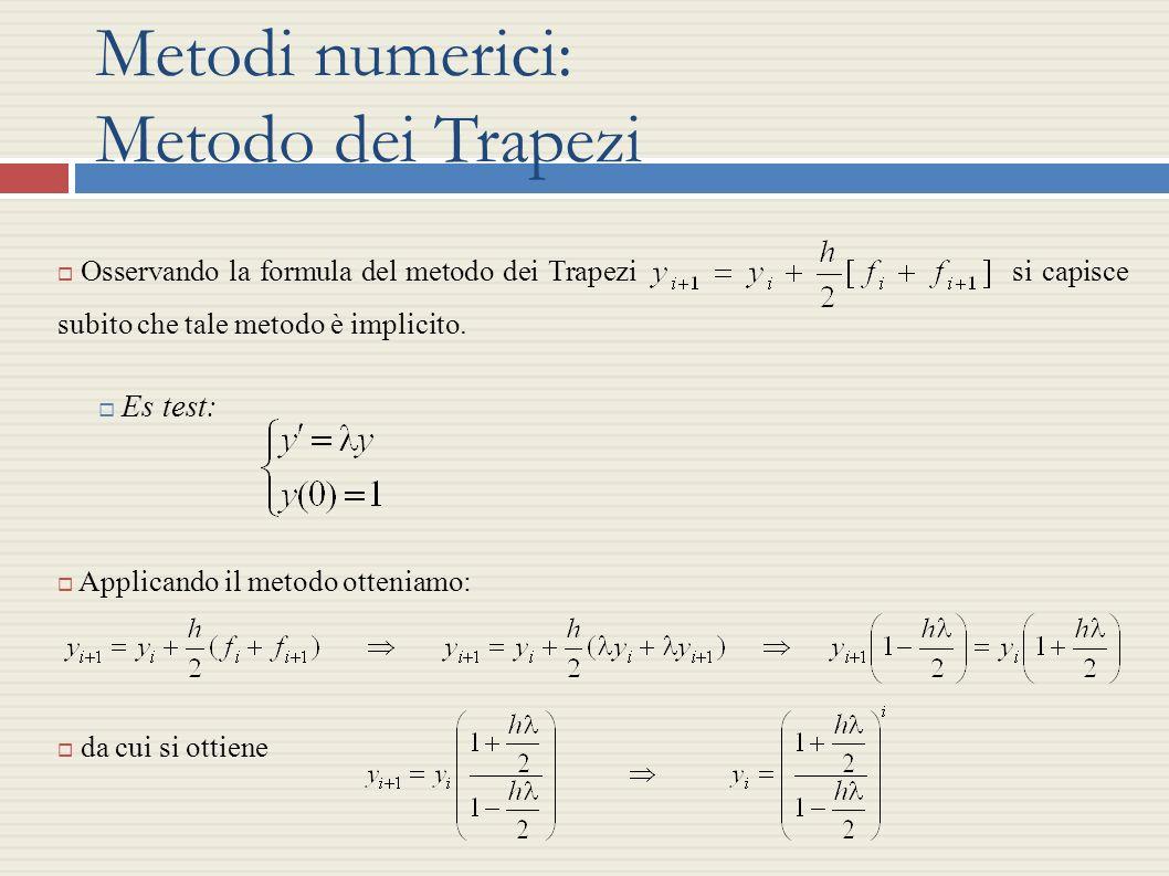 Metodi numerici: Metodo dei Trapezi Osservando la formula del metodo dei Trapezi si capisce subito che tale metodo è implicito. Es test: Applicando il