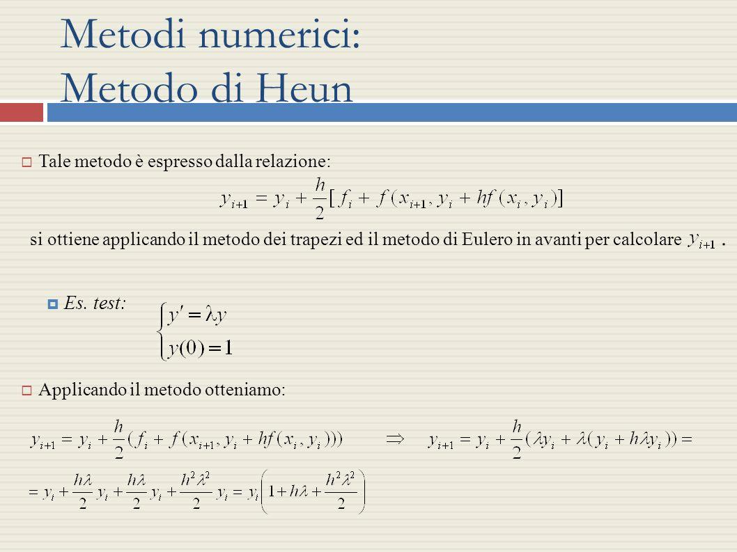 Metodi numerici: Metodo di Heun Tale metodo è espresso dalla relazione: si ottiene applicando il metodo dei trapezi ed il metodo di Eulero in avanti p