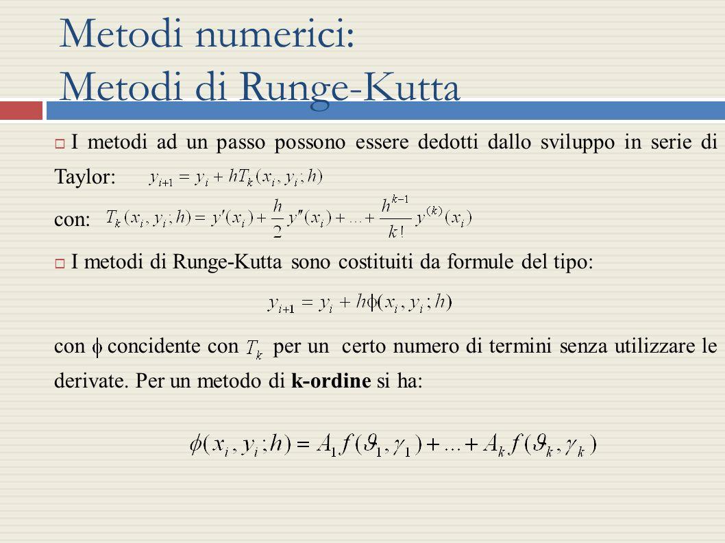 Metodi numerici: Metodi di Runge-Kutta I metodi ad un passo possono essere dedotti dallo sviluppo in serie di Taylor: con: I metodi di Runge-Kutta son