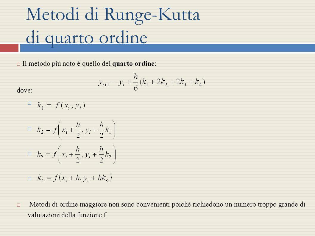Metodi di Runge-Kutta di quarto ordine Il metodo più noto è quello del quarto ordine: dove: Metodi di ordine maggiore non sono convenienti poiché rich