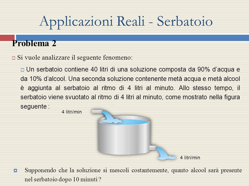 Problema 2 Si vuole analizzare il seguente fenomeno: Un serbatoio contiene 40 litri di una soluzione composta da 90% dacqua e da 10% dalcool. Una seco