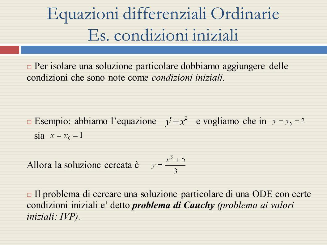Equazioni differenziali Ordinarie Es. condizioni iniziali Per isolare una soluzione particolare dobbiamo aggiungere delle condizioni che sono note com