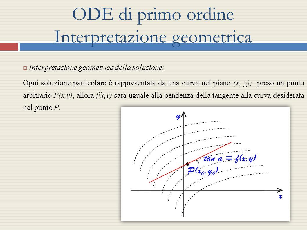 ODE di primo ordine Interpretazione geometrica Interpretazione geometrica della soluzione: Ogni soluzione particolare è rappresentata da una curva nel