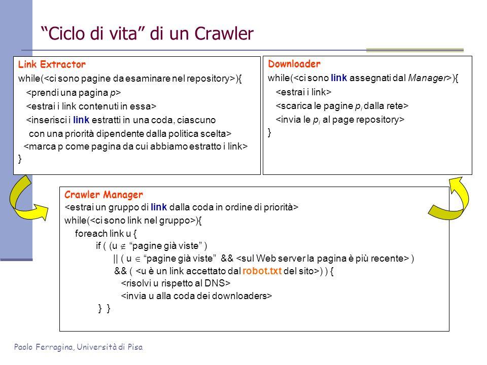 Paolo Ferragina, Università di Pisa Link Extractor while( ){ <inserisci i link estratti in una coda, ciascuno con una priorità dipendente dalla politi