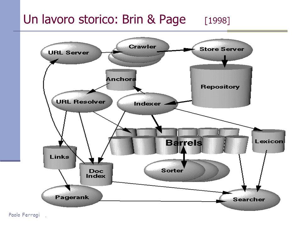 Paolo Ferragina, Università di Pisa Motore di Ricerca: struttura Web Crawler Archivio Pagine Analizzatore pagine Controllo Query Risolutore .