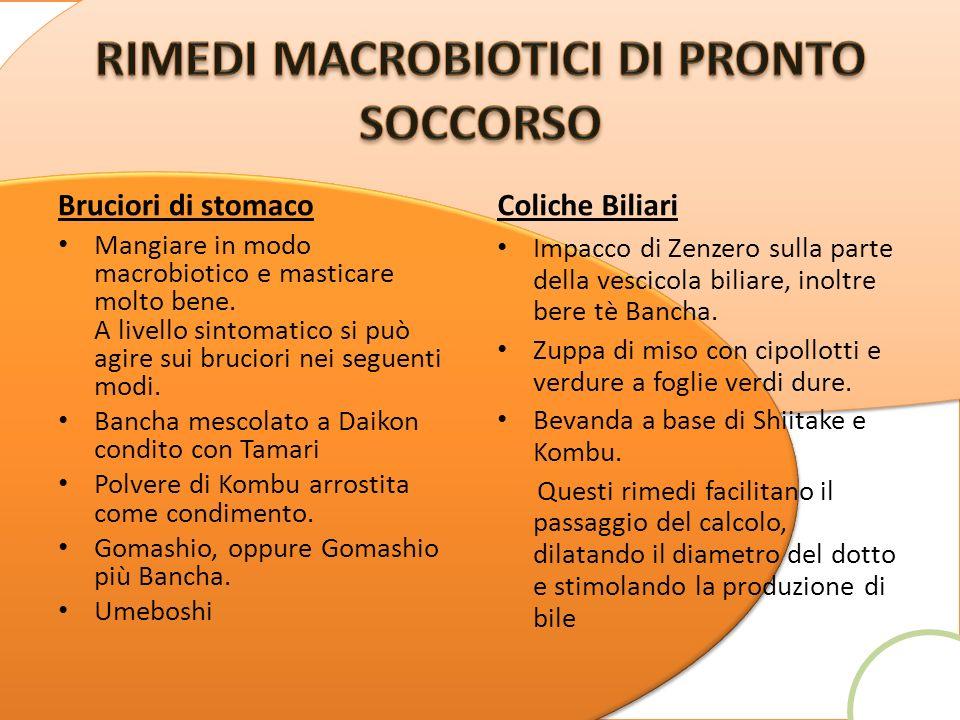Bruciori di stomaco Mangiare in modo macrobiotico e masticare molto bene. A livello sintomatico si può agire sui bruciori nei seguenti modi. Bancha me