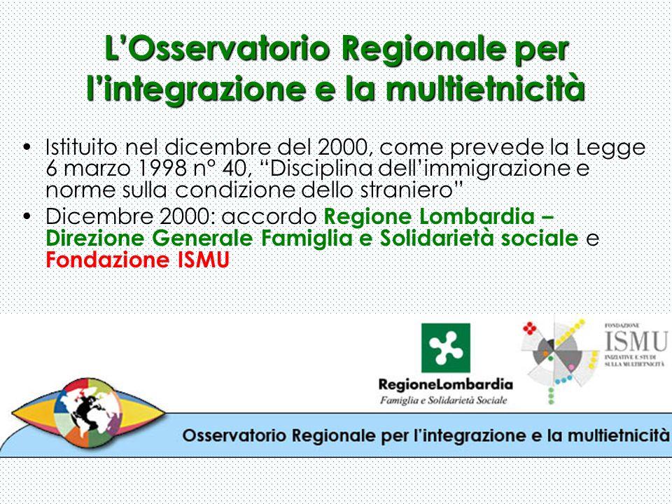 LOsservatorio Regionale per lintegrazione e la multietnicità Istituito nel dicembre del 2000, come prevede la Legge 6 marzo 1998 n° 40, Disciplina del